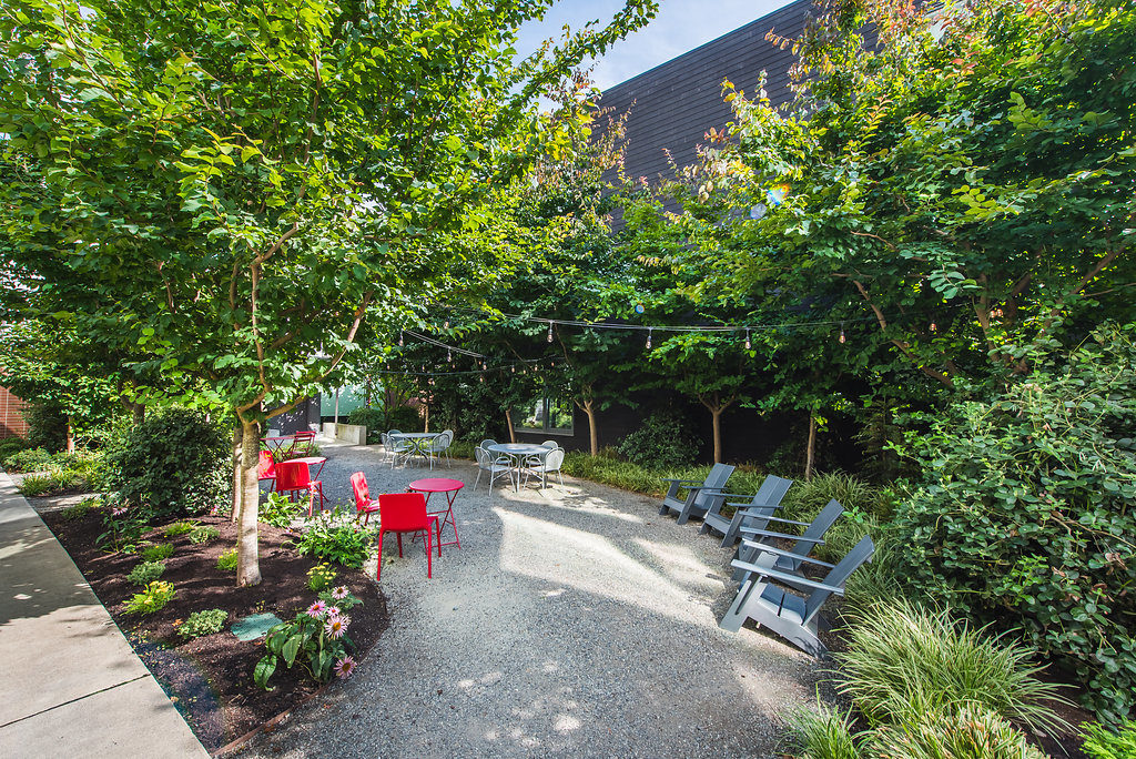 Courtyard Garden At Belroy Apartments In Seattle, WA